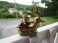 LOVELY+Vintage  Brass Sitting Buck Deer Candle Holder ~~NICE!!!!