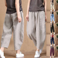 Women Pants Nine Cent Elastic Waist Wide Leg Casual Trousers Drawstring Summer
