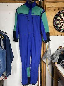 THE NORTH FACE Extreme One piece SKI SUIT Snow Bib Snowsuit Blue Vtg Mens Large