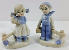 "FARM GIRL & BOY Ceramic FIGURINE SET VTG GLOSSY PASTEL BLUE 4.25"" tall"
