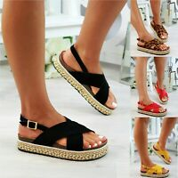 LADIES WOMENS PEARLS FLATFORM STUDS SUMMER SLINGBACK MULES SANDALS SHOES SIZE