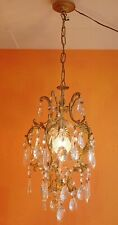 Rare 1930's French Maison Gilded Crystal Prism Cage Chandelier