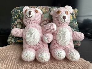 "NEW 13"" Two Pink Knitted Teddy Bears Handmade Toy"