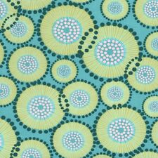 MODA For You Retro Modern Large Straw Circles on Teal Cotton Fabric - FQ