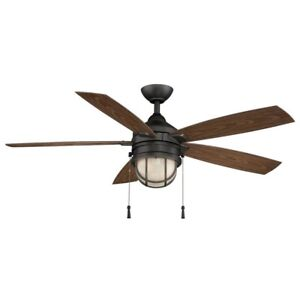 Ceiling Fan Light Kit Five Weather Resistant Blades LED Integrated Natural Iron