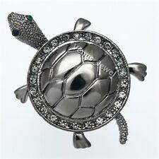 Gunmetal Turtle Tortoise Black Diamond Rhinestone Crystal Brooch Pin B1078