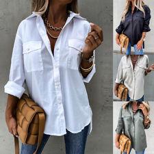 Damen Langarm Bluse Hemd Oversize Longbluse Langarm Longshirt Oberteile Tops DE