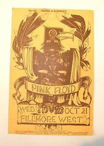 "1970 PINK FLOYD FILLMORE WEST / BILL GRAHAM MUSIC CONCERT POSTER 7""X4-3/4"""