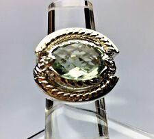Judith Ripka Oval Checkerboard Green Amethyst Sterling Silver Enhancer Ring