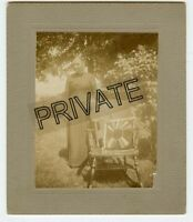 Vintage Matted Photo-Mother KEAGY-Lady-Outside chair with handmade pillow ?