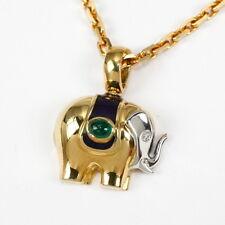 Wunderschöne Arbeit: Anhänger Elefant, 750 Gold mit Smaragd, Brillant und Email