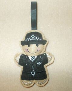 Policewoman Gingerbread Felt Embroidered Hanging decoration ornament