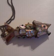 abalone shell fish pendant necklace, bottle opener