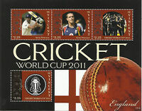 ST VINCENT 2011 ICC CRICKET WORLD CUP ENGLAND TEAM KEVIN PIETERSEN 4v Sheet MNH