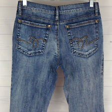 CATO Womens Size 4 Stretch Low Rise Bootcut Ramie Blend Med Wash Detailed Jeans
