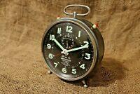 "Retro Vintage Alarm Clock ""WEHRLE"" Commander, Rare and Unique Alarm Clock #77"