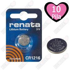 10 BATTERIE A BOTTONE PILE CR1216 3V LITIO RENATA