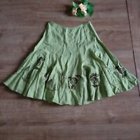 M&S Per Una green floral midi a line flare linen skirt size 14R side zip summer