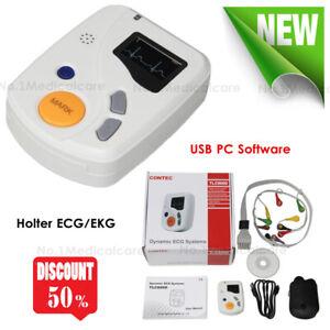 TLC6000 Dynamic Holter ECG/EKG 48h 12 lead Analyzer Recorder System, pc software