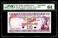 Fiji $10 ND 1970 SPECIMEN Note P. 62 - 62s PMG 64 Choice UNC QEII SCARCE