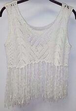 Womens Haute Society Fringe Sleeveless Boho Crop Half Sweater Sz S Off White