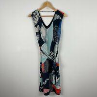 Gorman Womens Silk Dress 8 Multicoloured Sleeveless Scoop Neck Belt 2015