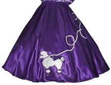 "Purple SATIN 50s Poodle Skirt _ Adult Size SMALL _ Waist 25""-32"" _ Length 25"""