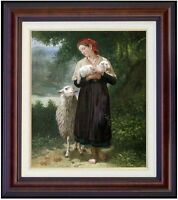 Framed, Bouguereau the Shepherdess Repro. Hand Painted Oil Painting 20x24in