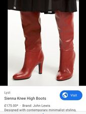 Brand New John Lewis Red Leather Sienna Knee Boots 38/39 RRP £175