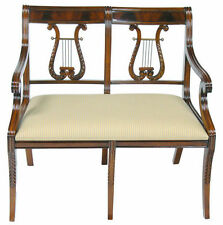 Hand Crafted Mahogany Lyre Back Settee Bench - 2 Seater
