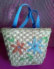 Spring Summer Floral Flowers Kids Girls Weaved Turquoise lining Tote Handbag Bag