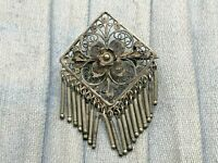 Filigree Brooch Floral Flower Drop Dangle Tassel Silver Antique Jewellery