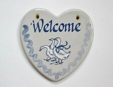 Louisville Stoneware hanging heart shaped art pottery blue Welcome geese plaque