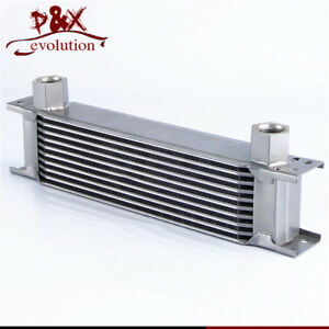 10 Row AN10 Aluminum Engine Transmission Oil Cooler Radiator Mocal Style silver