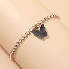 Charm Rhinestone Bangle Bracelet Jewelery European Gold Cute Black Butterfly