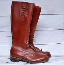 Mens Vintage 70s RCMP Oxblood Brown Leather Riding Motorcycle Tall Boots Sz 9 E