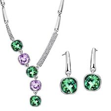 New Multi Coloured Necklace Earrings Jewellery Set Made With Swarovski Crystals