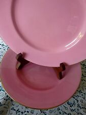 MINTON England for BIRKS Montreal Canada PINK LUNCH PLATES Gold Trim SET 4