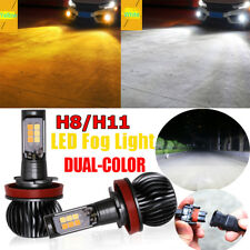 2pcs 80W H8 H9 H11 LED Fog Light 9600LM DRL Driving Bulb Dual Color White Yellow