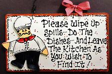 FAT CHEF KITCHEN Wipe Spills Do Dishes Bistro Cucina Wall Hanger Decor Plaque