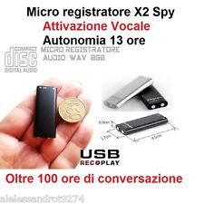 MICRO REGISTRATORE AUDIO ATTIVAZIONE VOCALE 8GB SPY SPIA VOICE RECORDER USB 8 GB