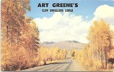 Unused Postcard Art Greene's Cliff Dwellers Lodge Mountain Roadway Thru Aspens