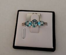 Blue Zircon & White Topaz Sterling Silver Ring ATGW 2.08cts Size 9 Natural