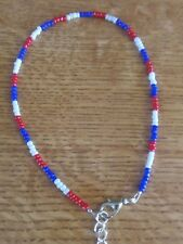 red,white and blue bead anklet/ankle bracelet summer beach funky boohoo