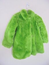 Corky & Company USA Coat Girls 8 Bright Lime Green Faux Fur Style 146