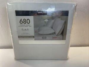 Kirkland Signature 680 Thread 6 Piece Cotton Sheet Set,White Cali King *Damaged*