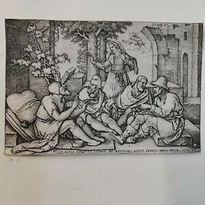 HANS SEBALD BEHAM (1500-1550) etching: Job Conversing With His Friends. ca.1547