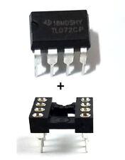 20PCS Texas Instruments TL072CP + Sockets Low Noise JFET Dual Op-Amp DIP-8 - New