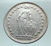 1937 SWITZERLAND - SILVER 2 Francs Coin HELVETIA Symbolizes SWISS Nation i80849