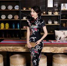 New Luxurious Black Satin Phoenix Chinese Long Dress Cheongsam Qipao lcdress49
